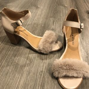 Lucky Brand Faux Fur Wooden Heal Sandals